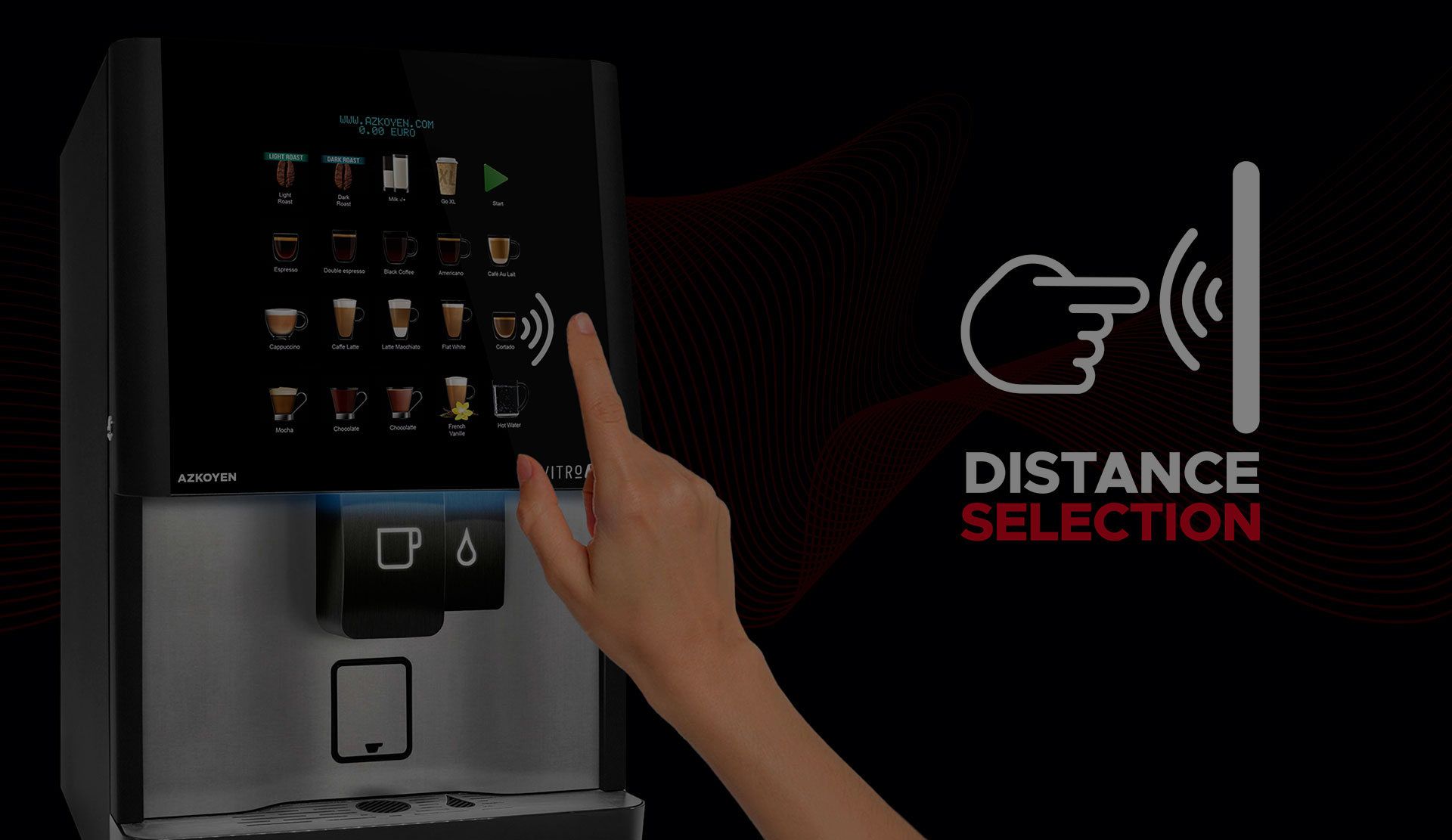 Azkoyen Group patents the Distance Selection technology which allows product selection in Coffetek automatic machines without the need to touch any surfaces